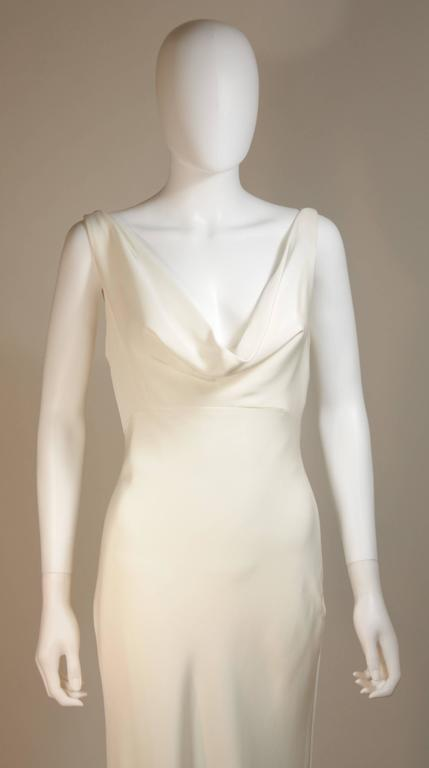 MONIQUE IHUILLIER BLISS Ivory Silk Empire Style Bias Cut Gown Size 4 3