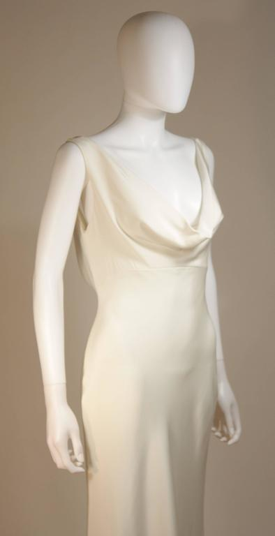 MONIQUE IHUILLIER BLISS Ivory Silk Empire Style Bias Cut Gown Size 4 5