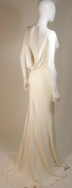 MONIQUE IHUILLIER BLISS Ivory Silk Empire Style Bias Cut Gown Size 4 7