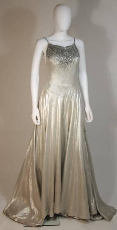 HELEN ROSE Couture Silver Metallic Ball Gown with Embellished Bodice Size Small 3