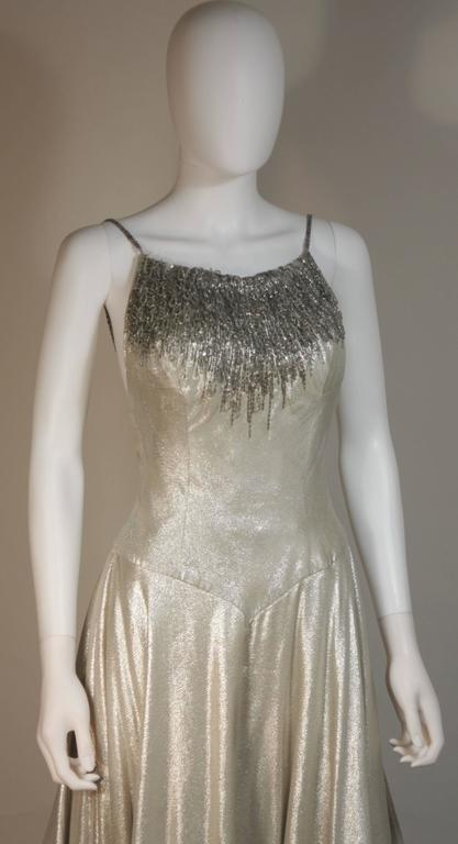 HELEN ROSE Couture Silver Metallic Ball Gown with Embellished Bodice Size Small 6