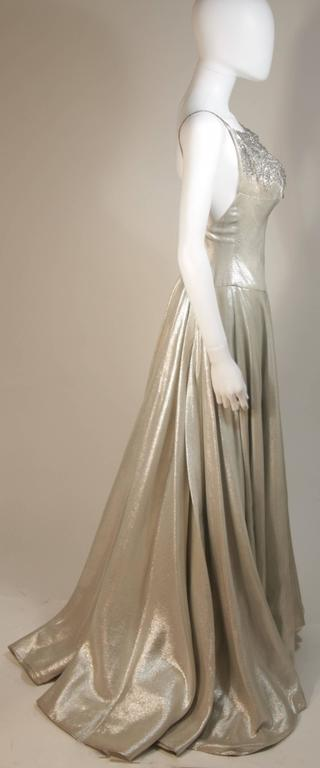 HELEN ROSE Couture Silver Metallic Ball Gown with Embellished Bodice Size Small 5