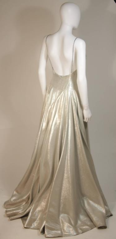 HELEN ROSE Couture Silver Metallic Ball Gown with Embellished Bodice Size Small 2