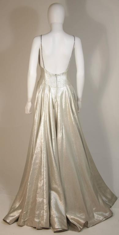 HELEN ROSE Couture Silver Metallic Ball Gown with Embellished Bodice Size Small 4