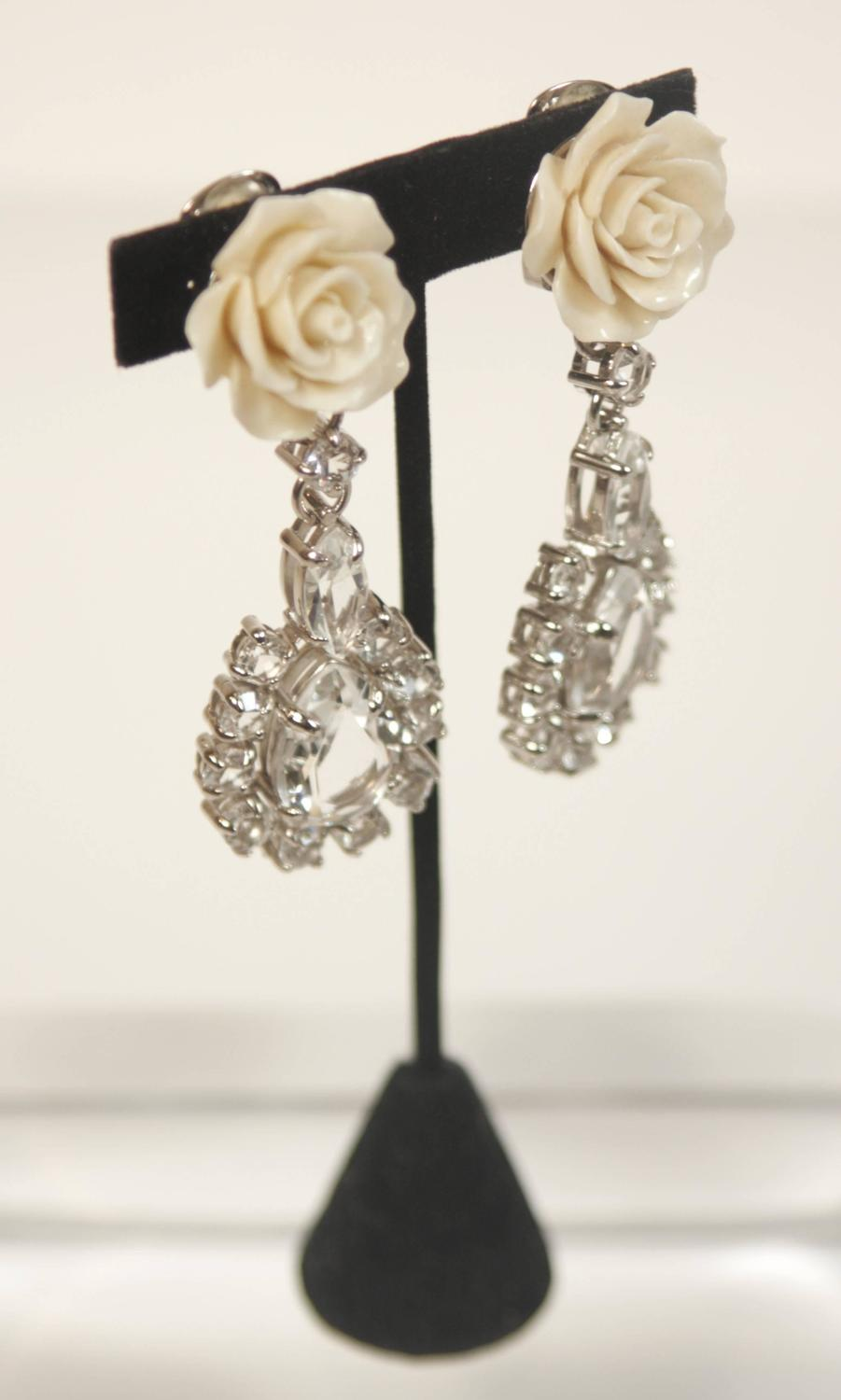 PRADA Large Rhinestone Clip On Earrings with Cream Rose ...