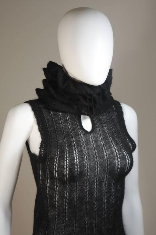CHANEL Black Mohair Blend Sleeveless Ruffled Turtleneck Size 42 5