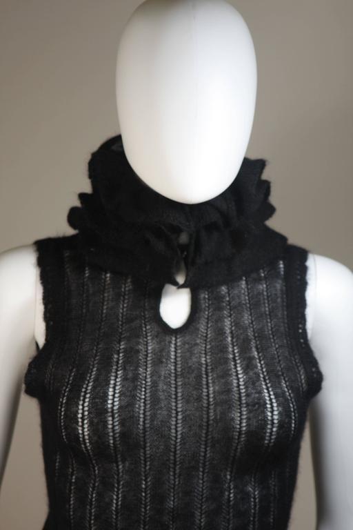 CHANEL Black Mohair Blend Sleeveless Ruffled Turtleneck Size 42 3