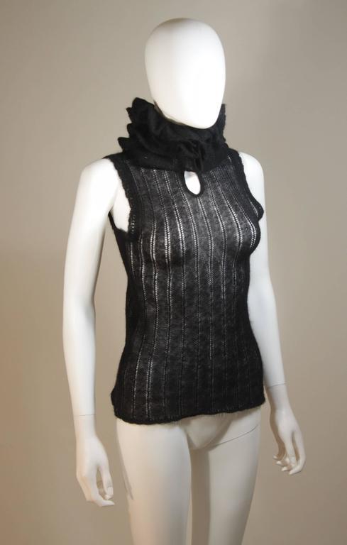 CHANEL Black Mohair Blend Sleeveless Ruffled Turtleneck Size 42 4