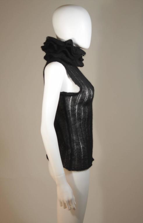 CHANEL Black Mohair Blend Sleeveless Ruffled Turtleneck Size 42 7