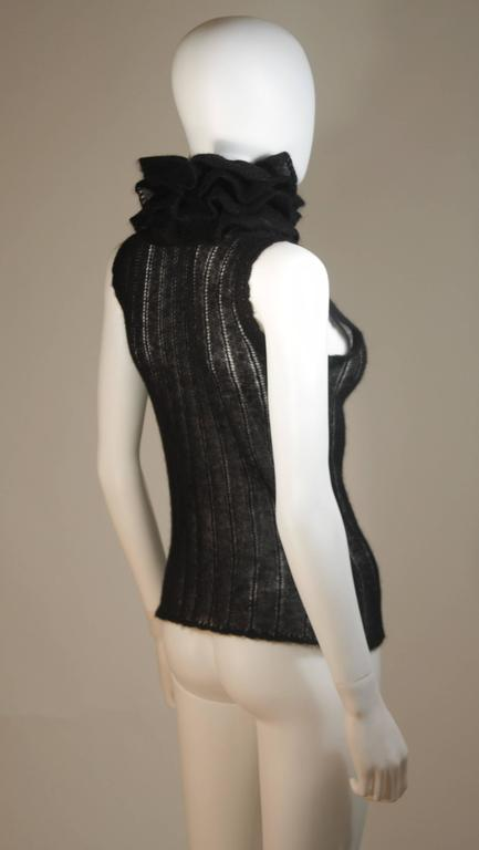 CHANEL Black Mohair Blend Sleeveless Ruffled Turtleneck Size 42 8