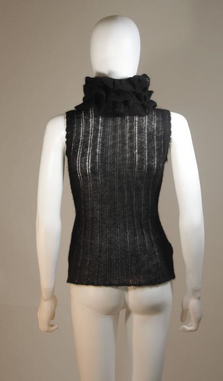 CHANEL Black Mohair Blend Sleeveless Ruffled Turtleneck Size 42 9