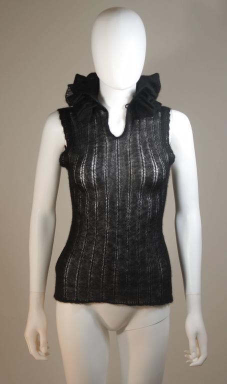 CHANEL Black Mohair Blend Sleeveless Ruffled Turtleneck Size 42 6