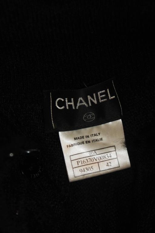 CHANEL Black Mohair Blend Sleeveless Ruffled Turtleneck Size 42 10