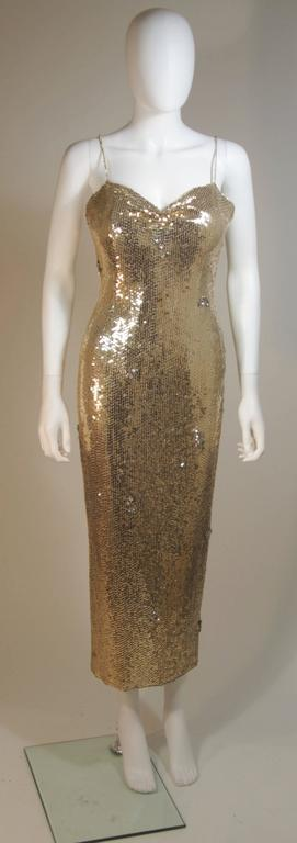 CUSTOM COUTURE Gold Sequin Gown with Rhinestone Applique & Straps Size 4 2