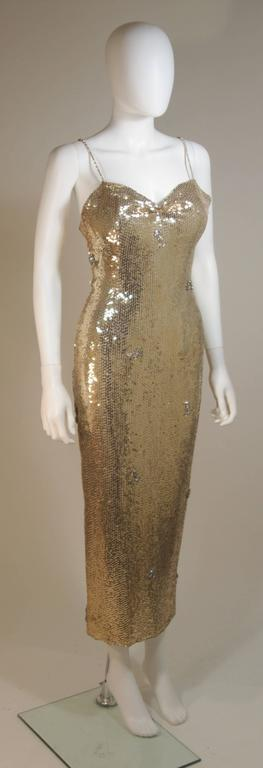 CUSTOM COUTURE Gold Sequin Gown with Rhinestone Applique & Straps Size 4 5
