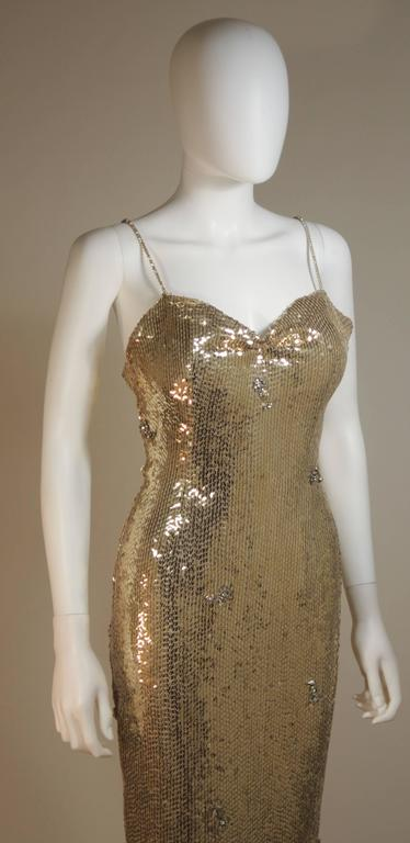CUSTOM COUTURE Gold Sequin Gown with Rhinestone Applique & Straps Size 4 6