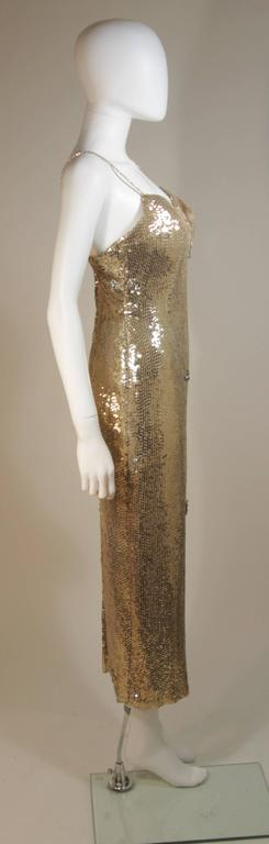 CUSTOM COUTURE Gold Sequin Gown with Rhinestone Applique & Straps Size 4 7