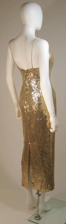 CUSTOM COUTURE Gold Sequin Gown with Rhinestone Applique & Straps Size 4 8