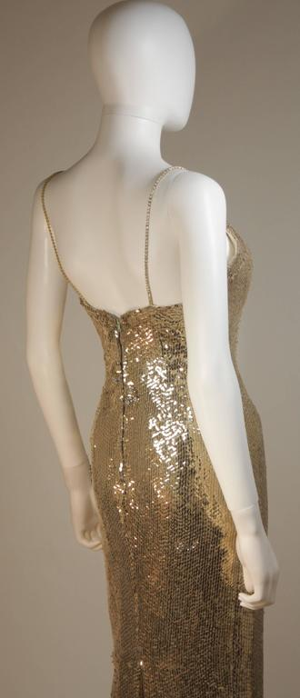 CUSTOM COUTURE Gold Sequin Gown with Rhinestone Applique & Straps Size 4 9