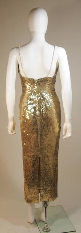CUSTOM COUTURE Gold Sequin Gown with Rhinestone Applique & Straps Size 4 10
