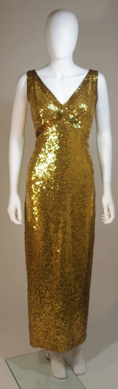 IRENE SARGENT Gold Sequin Gown with Empire Bust Size 6-8 2
