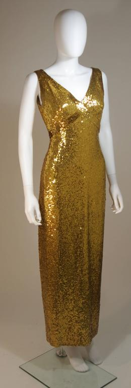 IRENE SARGENT Gold Sequin Gown with Empire Bust Size 6-8 4