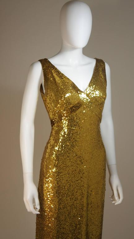 IRENE SARGENT Gold Sequin Gown with Empire Bust Size 6-8 5