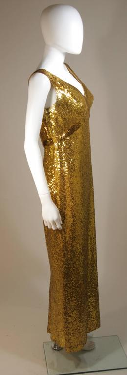 IRENE SARGENT Gold Sequin Gown with Empire Bust Size 6-8 6