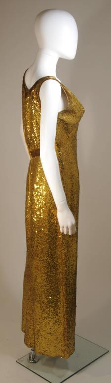 IRENE SARGENT Gold Sequin Gown with Empire Bust Size 6-8 7