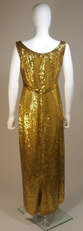 IRENE SARGENT Gold Sequin Gown with Empire Bust Size 6-8 8