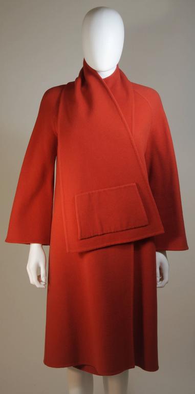 Fabiani Burnt Orange Wool Wrap Coat With Pocket Detail