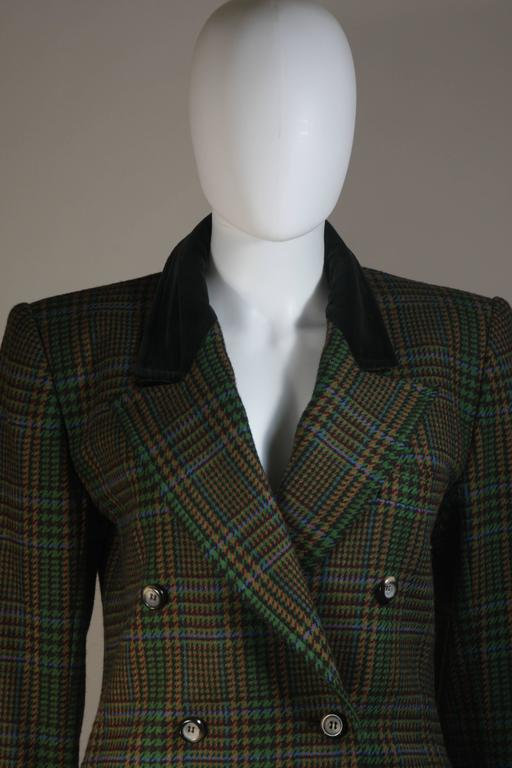 548c3623e Women's YVES SAINT LAURENT Green Wool Plaid Skirt Suit with Velvet Details  Size 4-6