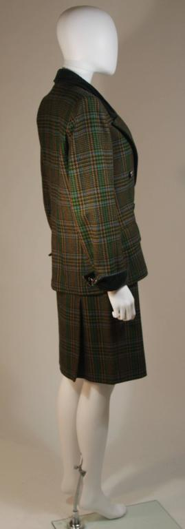95950011f YVES SAINT LAURENT Green Wool Plaid Skirt Suit with Velvet Details Size 4-6  For