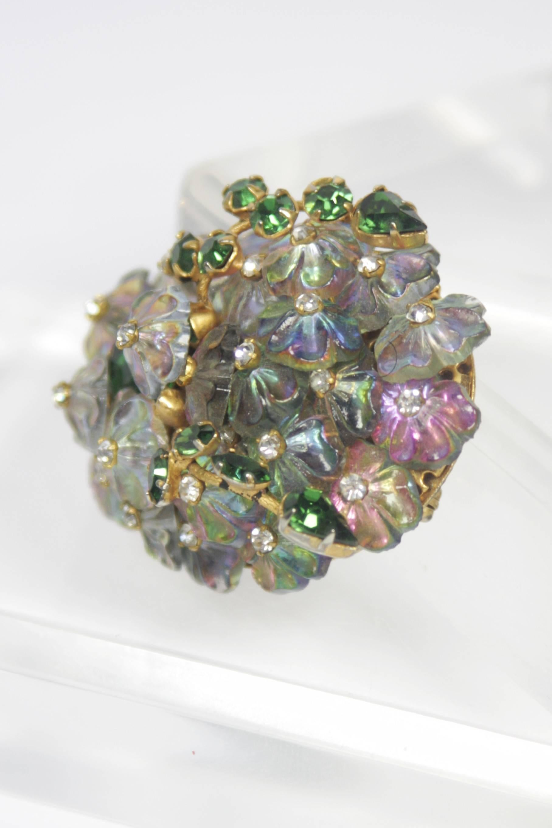 30d56f2ba4c0a ALICE CAVINESS Floral Motif Brooch with Iridescent Beads and Rhinestones