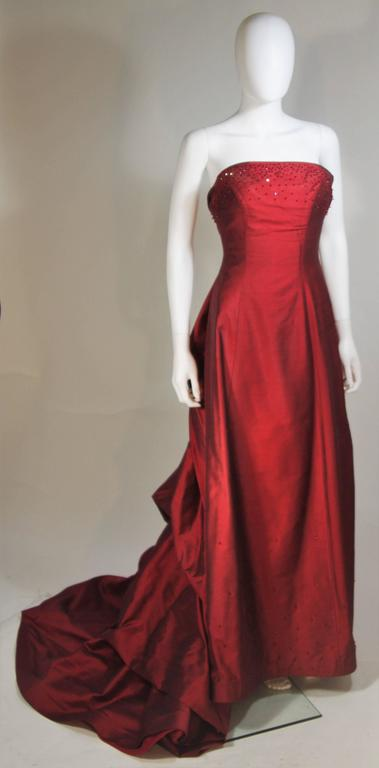 Daniel James Cantu Burgundy Raw Silk Gown Size 2 4 For