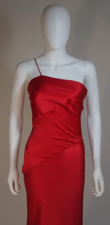 CANTU & CASTILLO Red Silk Bias Cut Asymmetrical Gown Size 2-4 In Excellent Condition For Sale In Los Angeles, CA