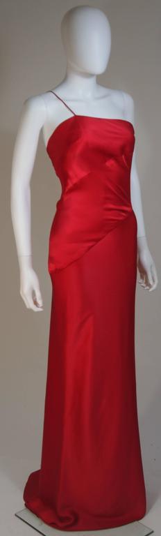 Women's CANTU & CASTILLO Red Silk Bias Cut Asymmetrical Gown Size 2-4 For Sale