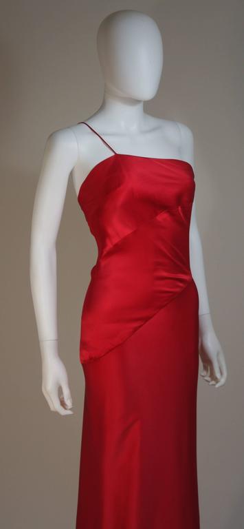 CANTU & CASTILLO Red Silk Bias Cut Asymmetrical Gown Size 2-4 For Sale 1