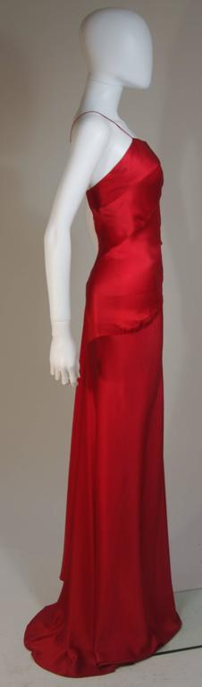 CANTU & CASTILLO Red Silk Bias Cut Asymmetrical Gown Size 2-4 For Sale 2