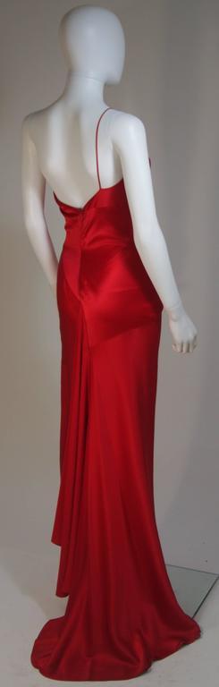 CANTU & CASTILLO Red Silk Bias Cut Asymmetrical Gown Size 2-4 For Sale 3