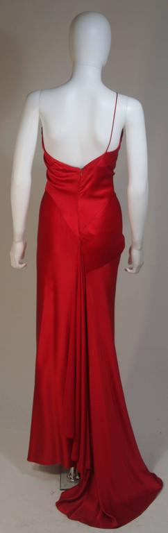 CANTU & CASTILLO Red Silk Bias Cut Asymmetrical Gown Size 2-4 For Sale 4