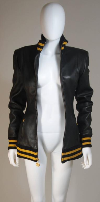 DONNA KARAN Varsity Style Jacket with Yellow Striped Ribbed Trim Size 8 8