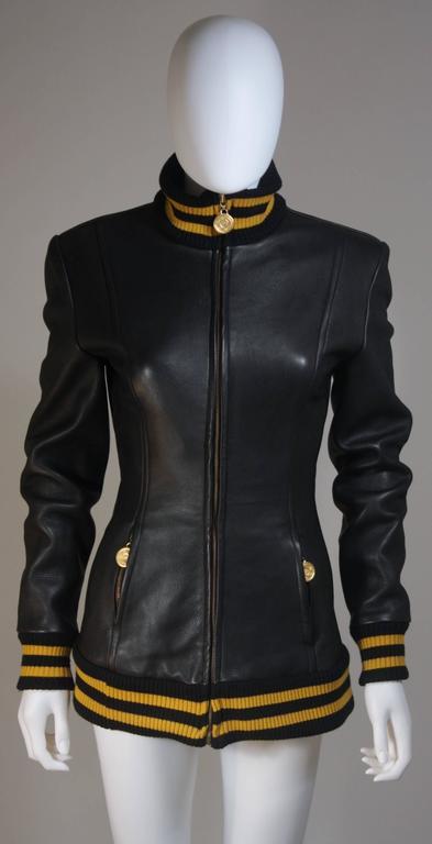 DONNA KARAN Varsity Style Jacket with Yellow Striped Ribbed Trim Size 8 2