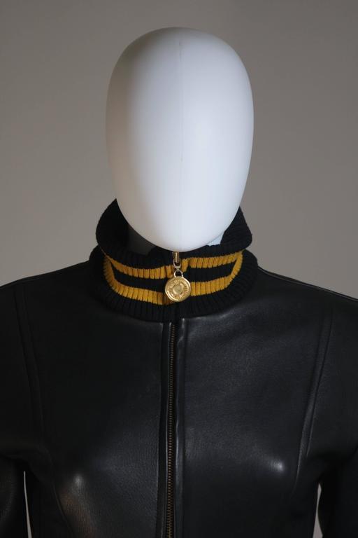DONNA KARAN Varsity Style Jacket with Yellow Striped Ribbed Trim Size 8 3
