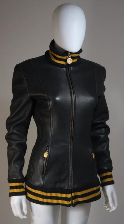 DONNA KARAN Varsity Style Jacket with Yellow Striped Ribbed Trim Size 8 4
