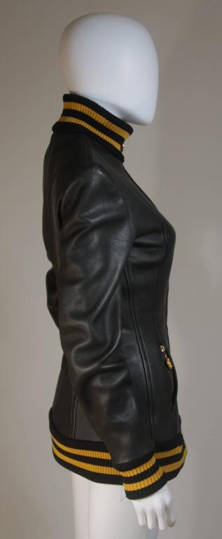 DONNA KARAN Varsity Style Jacket with Yellow Striped Ribbed Trim Size 8 5