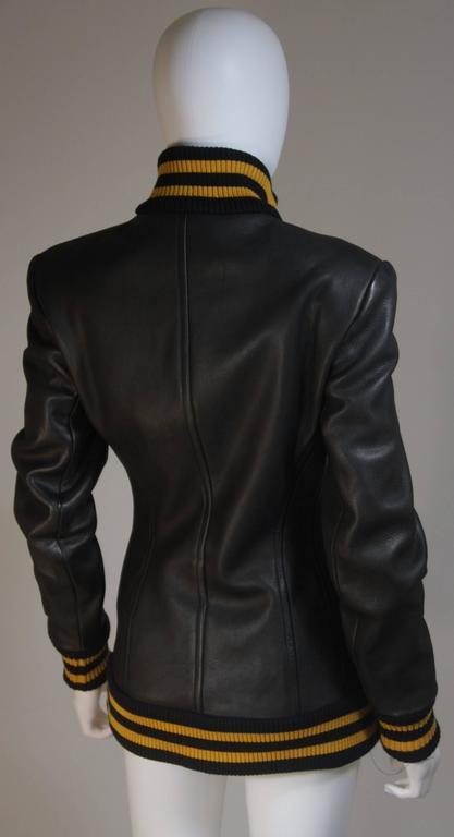 DONNA KARAN Varsity Style Jacket with Yellow Striped Ribbed Trim Size 8 6