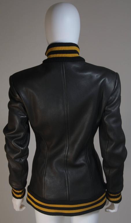 DONNA KARAN Varsity Style Jacket with Yellow Striped Ribbed Trim Size 8 7