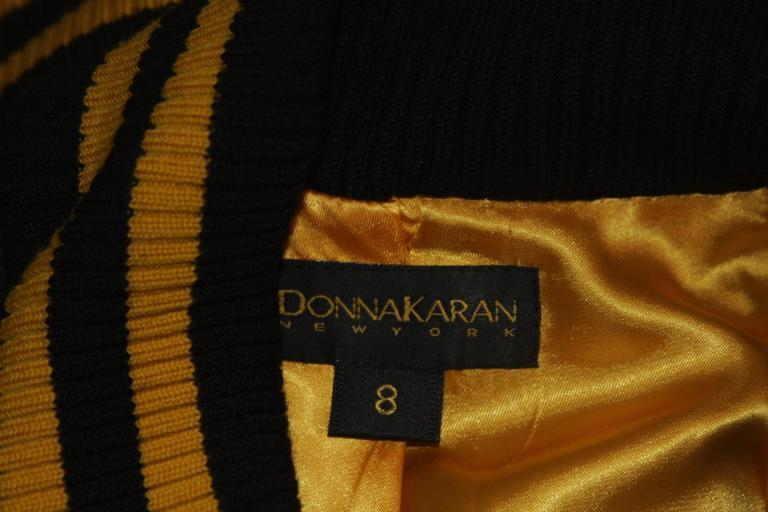 DONNA KARAN Varsity Style Jacket with Yellow Striped Ribbed Trim Size 8 9
