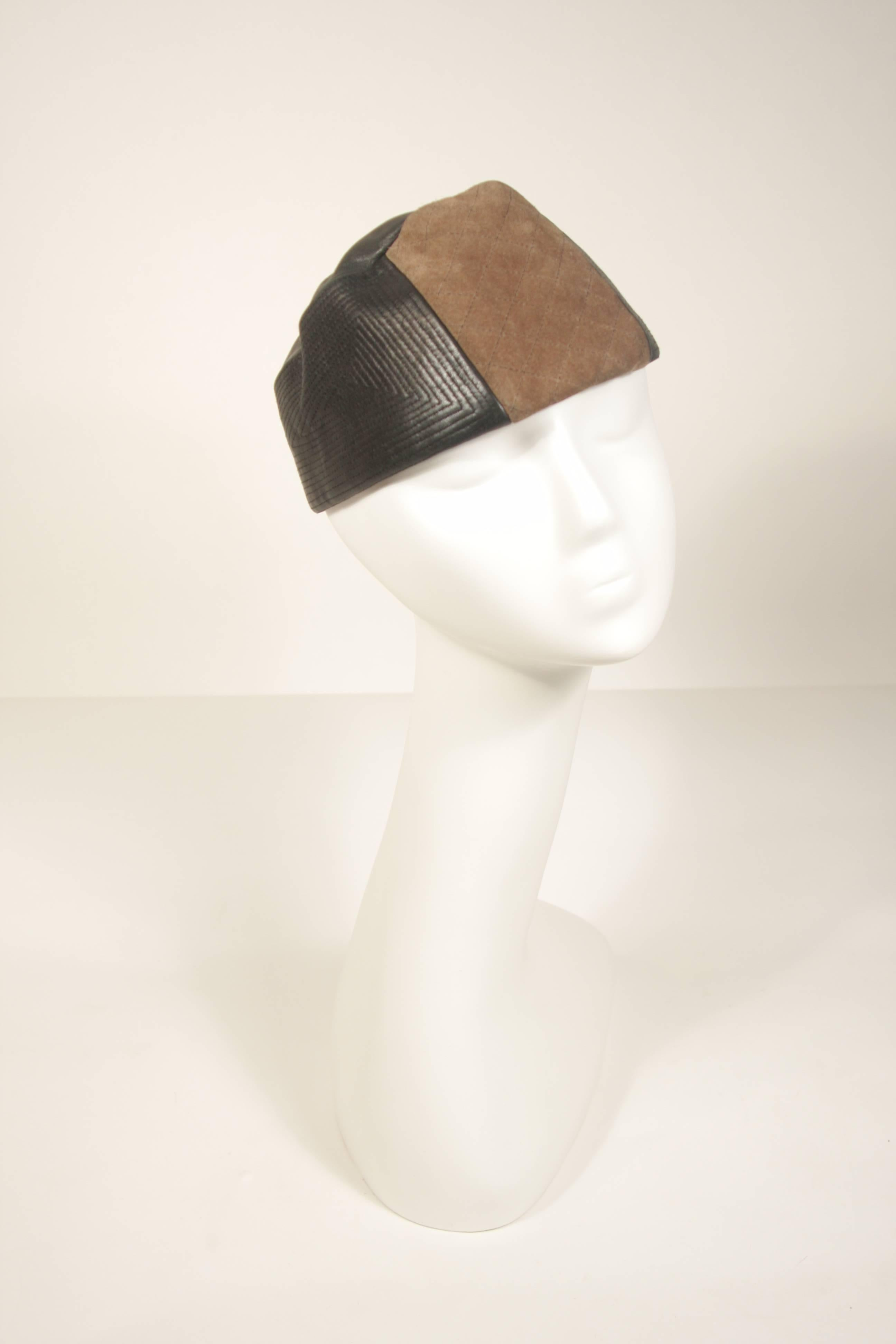 3fcfd530b15 YVES SAINT LAURENT RIVE GAUCHE Suede and Leather Hat with Top Stitch  Details For Sale at 1stdibs